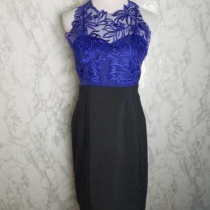 Karen Millen Purple Cutout Lace Silk Black Dress